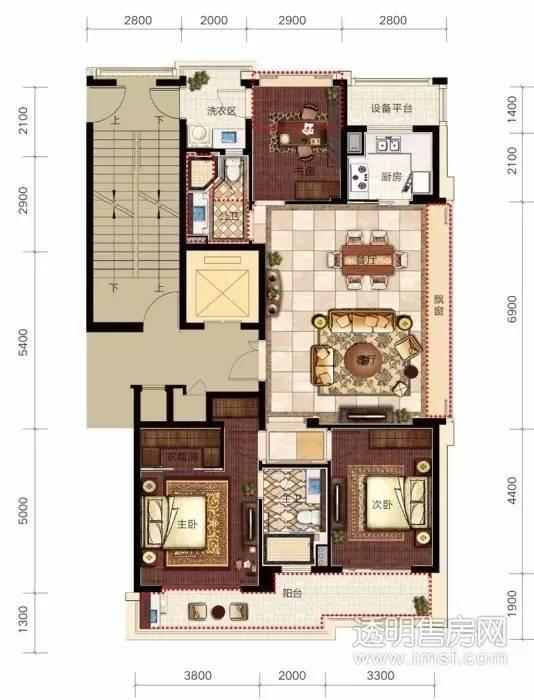 △ 滨江·锦绣之城,建筑面积约124方户型,开间尺度达到了10.9米.图片