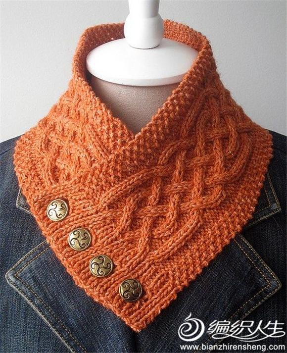自创用钩针编织的一小时一条的男士围巾 内含多款带纽扣围巾图片 我爱