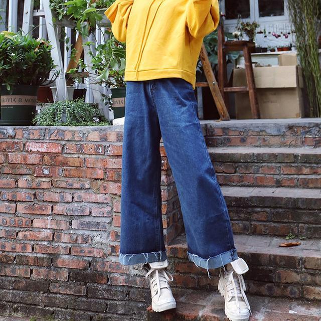 小粗腿的救星,阔腿牛仔裤的混搭风